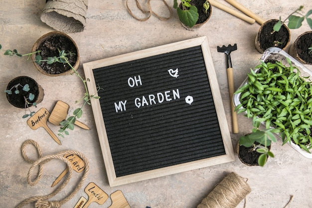 Letterbord met tekst oh my garden place