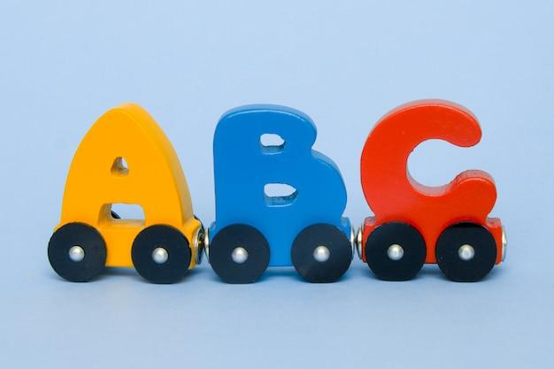 Letters a, b, c, d van een treinalfabet met locomotief.