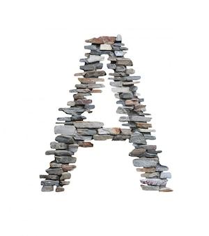 Lettertype van a te maken van stenen muur geïsoleerd op wit.