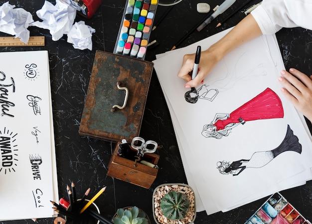 Lettertype woorden tekening schilderij ontwerp illustratie schets creativiteit