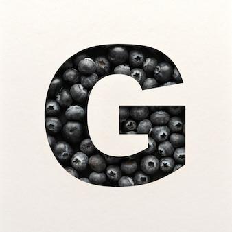Lettertypeontwerp, abstract alfabet lettertype met bosbessen, realistische fruittypografie - g.