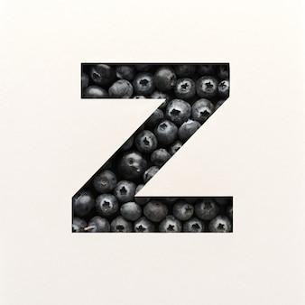 Lettertypeontwerp, abstract alfabet lettertype met bosbessen, realistische fruittypografie - z