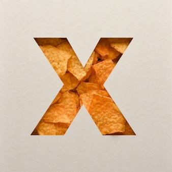 Lettertypeontwerp, abstract alfabet lettertype met driehoekige maïsspaanders, realistische blaadentypografie - x