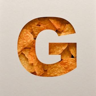 Lettertypeontwerp, abstract alfabet lettertype met driehoekige maïsspaanders, realistische bladeren typografie - g.