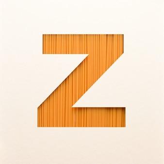 Lettertypeontwerp, abstract alfabet lettertype met houtstructuur, realistische houten typografie - z