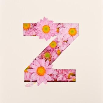 Lettertypeontwerp, abstract alfabet lettertype met roze bloem, realistische bloemtypografie - z