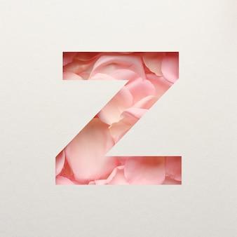 Lettertypeontwerp, abstract alfabet lettertype met roze rozenblaadjes, realistische bloemtypografie - z