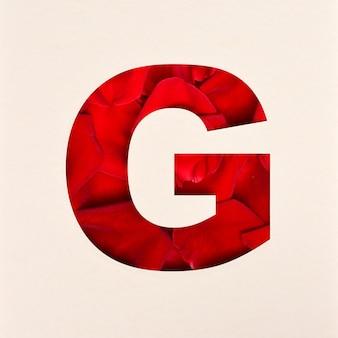 Lettertypeontwerp, abstract alfabet lettertype met rozenblaadjes, realistische bloemtypografie - g.