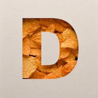 Lettertypeontwerp, abstract alfabetlettertype met driehoekige maïsspaanders, realistische blaadentypografie - d.