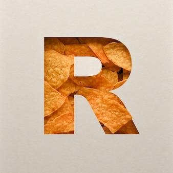 Lettertypeontwerp, abstract alfabetlettertype met driehoekige maïsspaanders, realistische blaadentypografie - r.