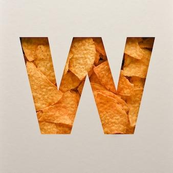 Lettertypeontwerp, abstract alfabetlettertype met driehoekige maïsspaanders, realistische blaadentypografie - w.