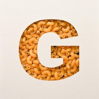 Lettertypeontwerp, abstract alfabetlettertype met elleboogmacaroni, realistische voedseltypografie - g.
