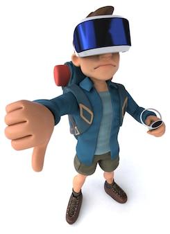 Leuk 3d-personage van een backpacker met een vr-helm