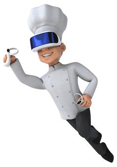 Leuk 3d-personage van een chef-kok met een vr-helm