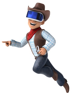 Leuk 3d-personage van een cowboy met een vr-helm