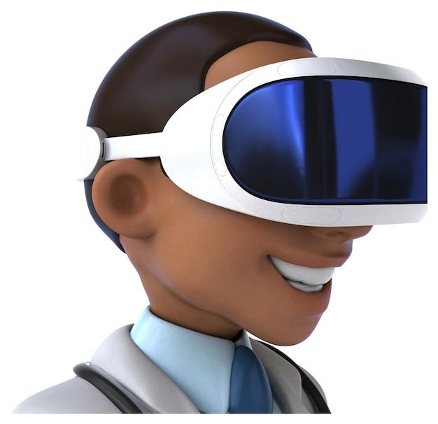 Leuk 3d-personage van een dokter met een vr-helm