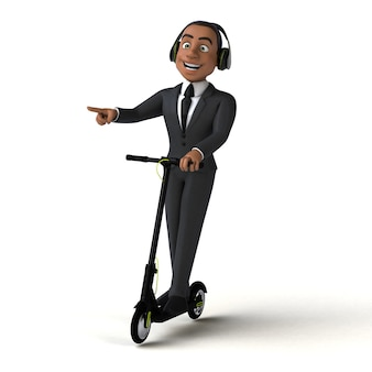 Leuk 3d-personage van een leuke zakenman op een elektrische scooter