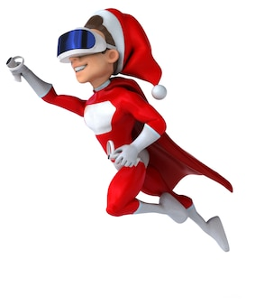 Leuk 3d-personage van een super kerstman met een vr-helm