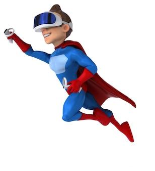 Leuk 3d-personage van een superheld met een vr-helm