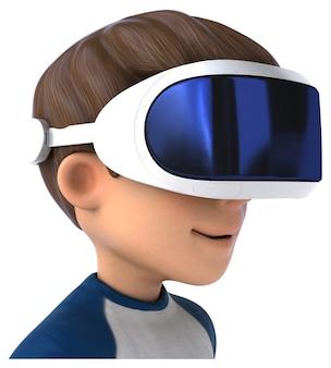 Leuk 3d-personage van een tekenfilmjongen met een vr-helm