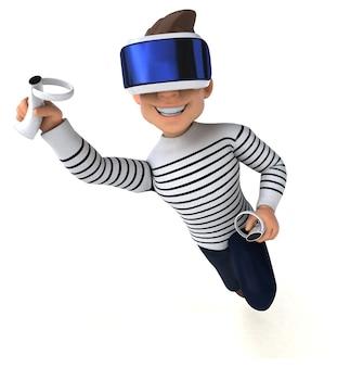 Leuk 3d-personage van een tekenfilmman met een vr-helm