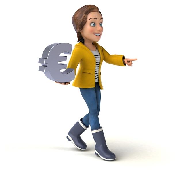 Leuk 3d-personage van een tekenfilmtienermeisje