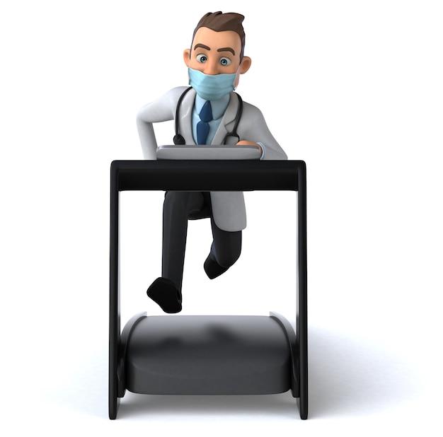 Leuk arts stripfiguur met een masker