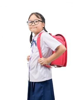 Leuk aziatisch schoolmeisje met bril