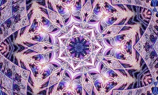 Leuk bloemcaleidoscoopportret met paarsblauwe en witte kleuren