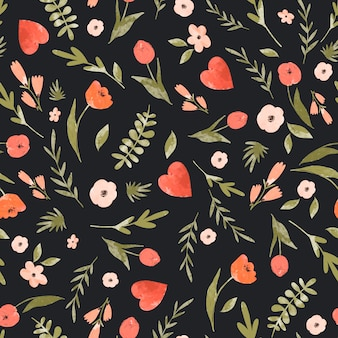 Leuk bloemenhart naadloos patroon.