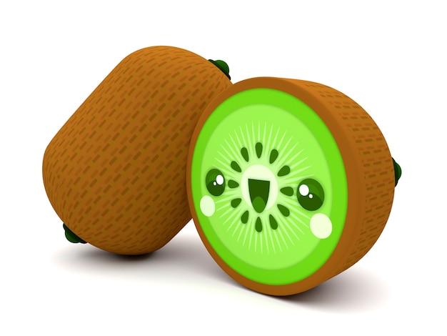 Leuk en gelukkig groen en bruin kawaii 3d het beeldverhaalkarakter van het kiwifruit Premium Foto