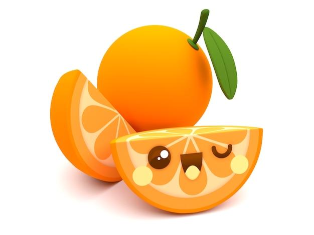 Leuk en gelukkig oranje 3d het beeldverhaalkarakter van fruitkawaii met plakken op een witte achtergrond