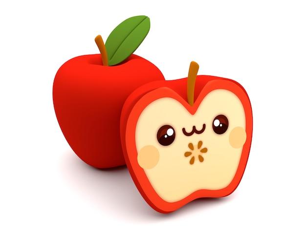 Leuk en gelukkig rood 3d de cartoonkarakter van appelkawaii op een witte achtergrond