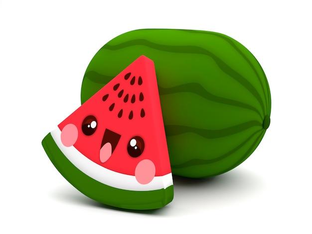 Leuk en gelukkig rood en groen kawaii 3d het beeldverhaalkarakter van het watermeloenfruit