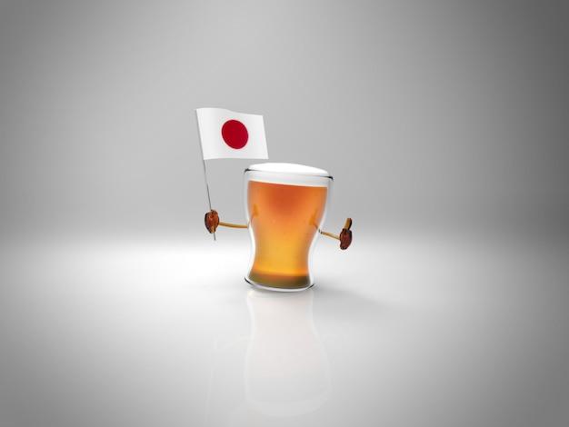 Leuk geïllustreerd bierkarakter dat de vlag van japan houdt