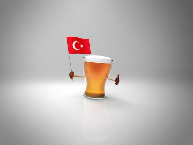 Leuk geïllustreerd bierkarakter dat de vlag van turkije houdt