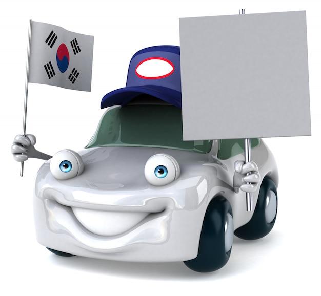 Leuk geïllustreerde auto met de vlag van zuid-korea en blanco bordje