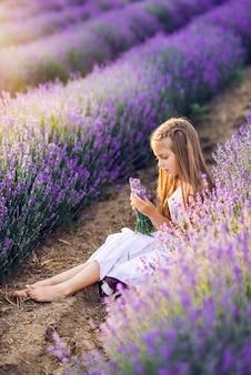 Leuk jong meisje verzamelt lavendel. een meisje zit in lavendel in de zon.