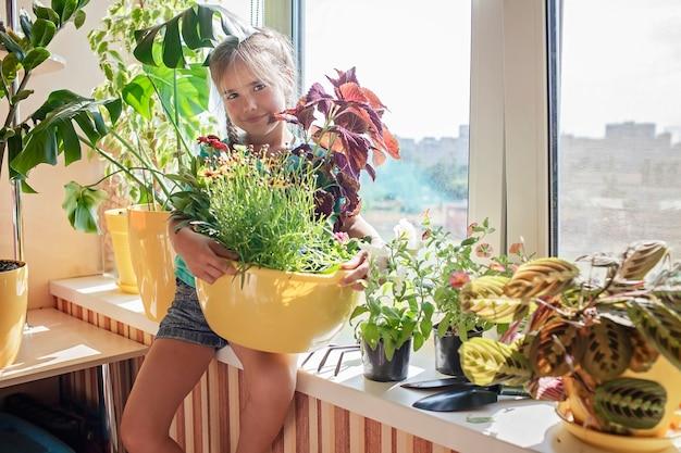 Leuk meisje dat helpt bij het verzorgen van huisplanten op het balkonraamconcept van de plantenouders