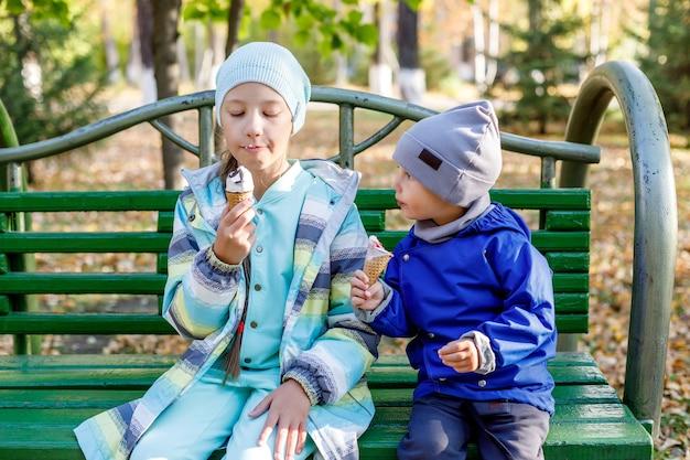 Leuk meisje en jongen, zus en broer eten van ijs in herfst park