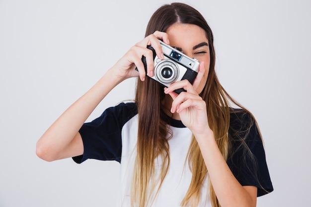 Leuk meisje foto's nemen