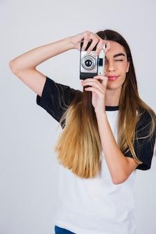 Leuk meisje fotograferen