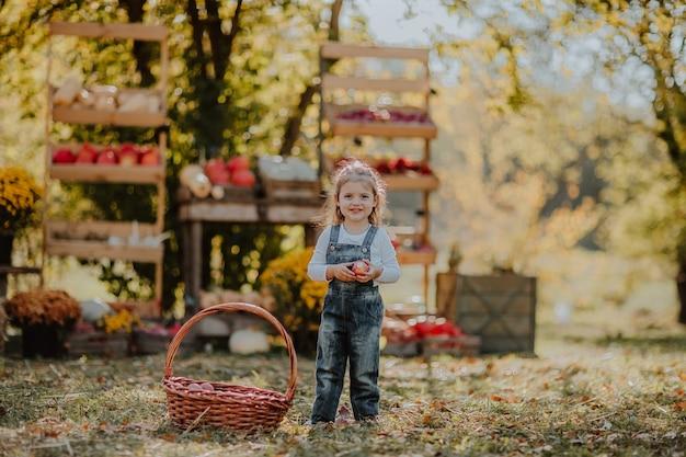 Leuk meisje in jeansoveralls die met mand van rode appelen stellen op de open marktplaats.