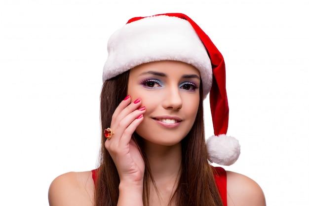 Leuk meisje in kerstmisconcept dat op wit wordt geïsoleerd