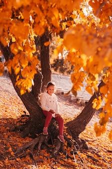 Leuk meisje, zittend op de wortel van een herfstboom bij zonsondergang, gele gevallen bladeren rond.