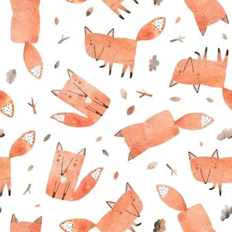 Leuk naadloos patroon. kinderachtige aquarel illustratie met vossen met gevallen bladeren in de herfst bos.