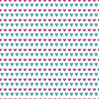 Leuk naadloos patroon met geschilderde hartentextuur.