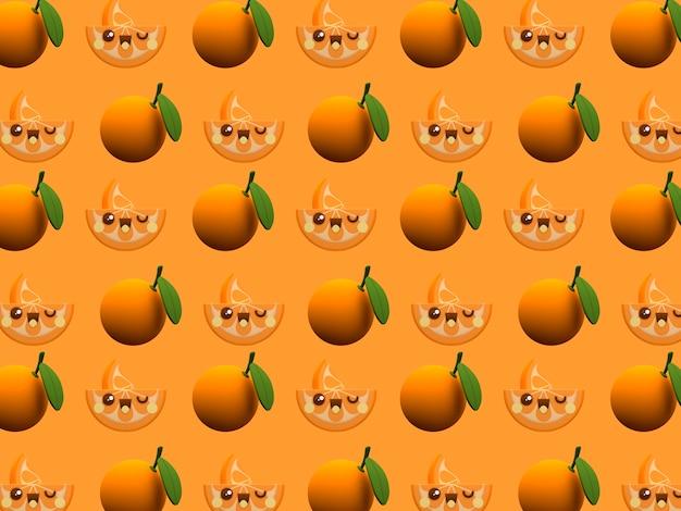 Leuk oranje behang van het het karakterpatroon van kawaii 3d beeldverhaal op de achtergrond van het kleurenblok