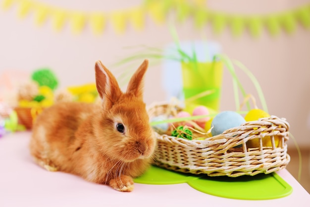 Leuk rood konijn met pasen-mandclose-up. het concept van pasen