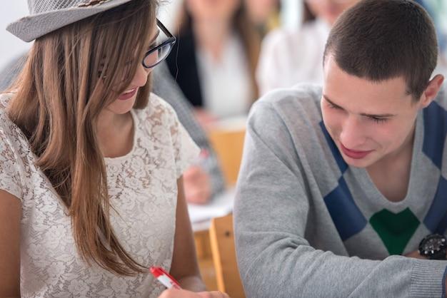 Leuk schoolmeisje dat met haar klasgenoot bestudeert